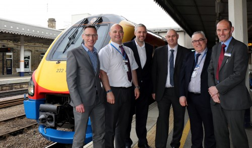 (L-R) James Fox, Commercial Director, 3Squared, Trevor Parkin, Operations Specialist, East Midlands Trains (EMT) Tim Jones, MD, 3Squared, Steve Smith, Operational Standards Manager, South West Trains, David Burgess, Customer Experience Manager, EMT and Kevin Bowen, Operations Standards Manager, EMT.